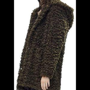 Zara XS Green Hooded Teddy Jacket